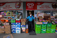 Brooklyn Food Market dairy owner Aravind Morar during quarantine lockdown for COVID19 pandemic in Wellington, New Zealand on Wednesday, 1 April 2020. Photo: Dave Lintott / lintottphoto.co.nz