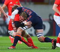 10th October 2020; Thomond Park, Limerick, Munster, Ireland; Guinness Pro 14 Rugby, Munster versus Edinburgh; Ben Toolis of Edinburgh tackles Craig Casey of Munster