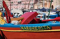 Colorful fisherman's dory, Portoferraio, Elba, Italy.