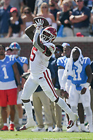 Arkansas running back Raheim Sanders (5) catches, Saturday, October 9, 2021 during the fourth quarter of a football game at Vaught Hemingway Stadium in Oxford, Miss. Check out nwaonline.com/211010Daily/ for today's photo gallery. <br /> (NWA Democrat-Gazette/Charlie Kaijo)