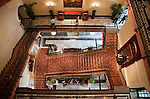 MUMBAI, INDIA - SEPTEMBER 27, 2010:  The grand staircase in the heritage wing at the renovated Taj Mahal Palace and Tower Hotel in Mumbai. The Hotel has re-opened after the terror attacks of 2008 destroyed much of the heritage wing. The wing has been renovated and the hotel is once again the shining jewel of Mumbai. pic Graham Crouch
