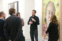 Tour of the National Portrait Gallery, London with a British Sign Language signer, Rob Skinner for any hearing impaired visitors, infront of a painting of Mo Mowlam by John Keane.