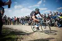 Ian Stannard (GBR/Sky) over sector 6A: Bourghelles à Wannehain (1.1km)<br /> <br /> 113th Paris-Roubaix 2015