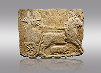 Picture & image of Hittite monumental relief sculpted orthostat stone panel. Limestone, Karkamıs, (Kargamıs), Carchemish (Karkemish), 900-700 B.C. Hunting carriage. Anatolian Civilisations Museum, Ankara, Turkey.<br /> <br /> Two human figures; one handling the carriage, the other throwing arrows. Both figures are wearing a headdress shaped like a skullcap. The dagger at the waist of the figure throwing arrow draws attention. There is an animal between the legs of the horse having an aigrette over its head.  <br /> <br /> Against a gray background.