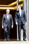 King Felipe VI of Spain (r) receives the President of the Republic of Portugal, Mr. Marcelo Rebelo de Sousa during his official visit to Spain. April 16 ,2018. (ALTERPHOTOS/Acero)