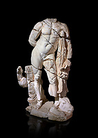 Roman statue of Hercules. Marble. Perge. 2nd century AD. Inv no . Antalya Archaeology Museum; Turkey. Against a black background.