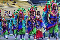 BOGOTA - COLOMBIA, 12-06-2019: Comparsas del Pasto hacern una exhibición previo al partido de vuelta entre Deportivo Pasto y Atletico Junior por la final de la Liga Águila I 2019 jugado en el estadio Nemesio Camacho El Campín de la ciudad de Bogotá. / Folklorico dancers of Pasto perform prior a second leg match between Deportivo Pasto and Atletico Junior for the final of the Aguila League I 2019 at Nemesio Camacho El Campin stadium in Bogota city. Photo: VizzorImage / Felipe Caicedo / Staff