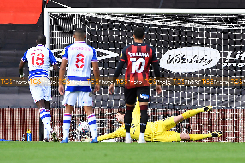 Lucas Joao of Reading left beats Asmir Begovic of AFC Bournemouth from the  penalty spot for the first goal during AFC Bournemouth vs Reading, Sky Bet EFL Championship Football at the Vitality Stadium on 21st November 2020