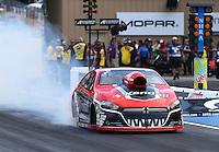Jul. 18, 2014; Morrison, CO, USA; NHRA pro stock driver V. Gaines during qualifying for the Mile High Nationals at Bandimere Speedway. Mandatory Credit: Mark J. Rebilas-
