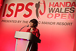ISPS Handa Wales Open 2012.Midori Miyazaki from ISPS speaking at the gala dinner...29.05.12.©Steve Pope