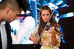 Violinist Elena Mikhailova and Dj Madison during a performance at MBFWM16 in Madrid. September 16, Spain. 2016. (ALTERPHOTOS/BorjaB.Hojas)