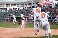 Oregon State Beavers shortstop Beau Philip (4) celebrates after scoring the winning run during a game against the New Mexico Lobos on February 15, 2019 at Surprise Stadium in Surprise, Arizona. Oregon State defeated New Mexico 6-5. (Zachary Lucy/Four Seam Images)
