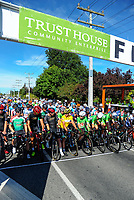 Cyclists group at the start of stage five of the 2018 NZ Cycle Classic UCI Oceania Tour (Masterton criterium) in Masterton, New Zealand on Friday, 21 January 2018. Photo: Dave Lintott / lintottphoto.co.nz