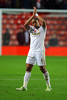 Saturday 10 November 2012<br /> Pictured: Ashley Williams of Swansea thanks supporters at the end of the game<br /> Re: Barclay's Premier League, Southampton FC v Swansea City FC at St Mary's Stadium, Southampton, UK.