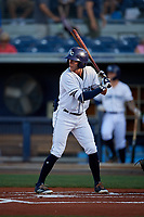 Charlotte Stone Crabs left fielder Miles Mastrobuoni (5) at bat during a game against the Palm Beach Cardinals on April 20, 2018 at Charlotte Sports Park in Port Charlotte, Florida.  Charlotte defeated Palm Beach 4-3.  (Mike Janes/Four Seam Images)