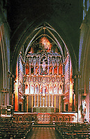 Chancel, All Saints Church. Designed by the architect William Butterfield and built between 1850 and 1859. Gothic Revival.