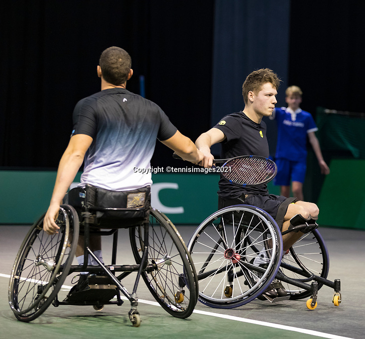 Rotterdam, The Netherlands, 5 march  2021, ABNAMRO World Tennis Tournament, Ahoy,  Quarter final wheelchair: Joachim Gerard (BEL) / Ruben Spaargaren (NED).<br /> Photo: www.tennisimages.com/henkkoster