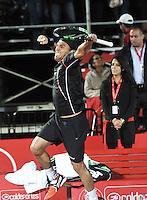 BOGOTA – COLOMBIA – 18-07-2014: Victor Estrella de Republica Dominicana, celebra despues de vencer a Richard Gasquet de Francia durante partido de cuartos de final del Open Claro Colombia de tenis ATP 250, que se realiza en las canchas del Centro de Alto Rendimiento en Altura en ciudad de Bogota. / Victor Estrella of Dominican Republic,  celebrates after defeating Richard Gasquet of France, during a match for the quarter of finals of the Open Claro Colombia de tenis ATP 250, at Centro de Alto Rendimiento en Altura in Bogota City. Photo: VizzorImage / Luis Ramirez / Staff.