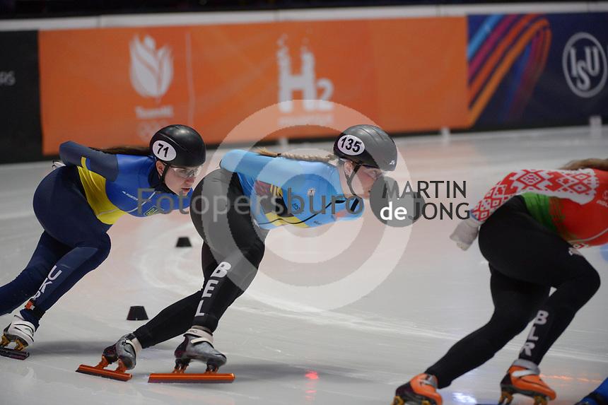 SPEEDSKATING: DORDRECHT: 06-03-2021, ISU World Short Track Speedskating Championships, RF 1500m Ladies, Mariya Dolgopolova (UKR), Tineke den Dulk (BEL), ©photo Martin de Jong