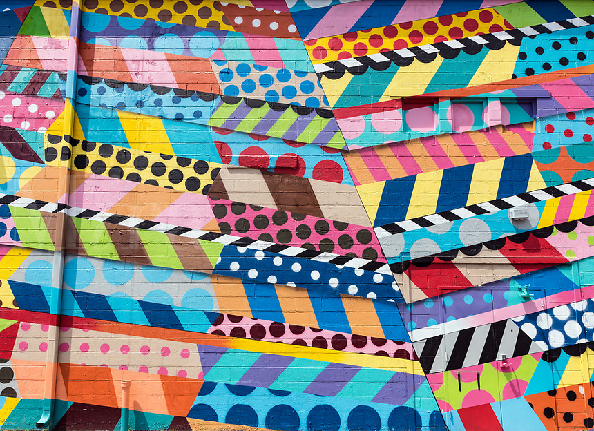 Colorful abstract mural design, The Gulch, Nashville, Tennrssee, USA.