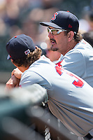 Salem Red Sox pitching coach Paul Abbott (44) talks to pitcher Trey Ball (37) during the game against the Winston-Salem Dash at BB&T Ballpark on May 31, 2015 in Winston-Salem, North Carolina.  The Red Sox defeated the Dash 6-5.  (Brian Westerholt/Four Seam Images)