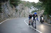 The reduced breakaway of Marc de Maar (NLD/UnitedHealthcare), Maarten Tjallingii (NLD/Belkin) and Matteo Bono (ITA/Lampre Merida) climb the Capo Berta as their advantage is eroded by a Cannondale-led peloton<br /> <br /> 2014 Milano - San Remo