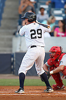 Tampa Yankees catcher Mitch Abeita #29 at bat in front of catcher Kyle Lafrenz #30 during a game against the Clearwater Threshers at Steinbrenner Field on June 22, 2011 in Tampa, Florida.  The game was suspended due to rain in the 10th inning with a score of 2-2.  (Mike Janes/Four Seam Images)