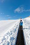 Austria, Tyrol, Ziller Valley Arena, Gerlos: ski region Isskogel below Latschenalm, ski lift for beginners - transportation belt; easy ski run | Oesterreich, Tirol, Zillertal-Arena, Gerlos: Skigebiet Isskogel unterhalb der Latschenalm, Aufstiegshilfe fuer Anfaenger - das Transportband; leichte, blaue Piste