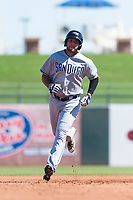 Peoria Javelinas third baseman Hudson Potts (13), of the San Diego Padres organization, rounds the bases after hitting a home run during an Arizona Fall League game against the Surprise Saguaros at Surprise Stadium on October 17, 2018 in Surprise, Arizona. (Zachary Lucy/Four Seam Images)