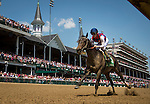 LOUISVILLE, KY - MAY 06: Carina Mia #5 with Julien Leparoux up win the Eight Belles Stakes at Churchill Downs on May 06, 2016 in Louisville, Kentucky.(Photo by Alex Evers/Eclipse Sportswire/Getty Images)