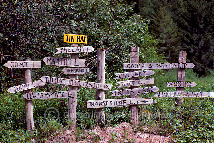 Direction Signs along Trails near Powell River on the Sunshine Coast, British Columbia, Canada
