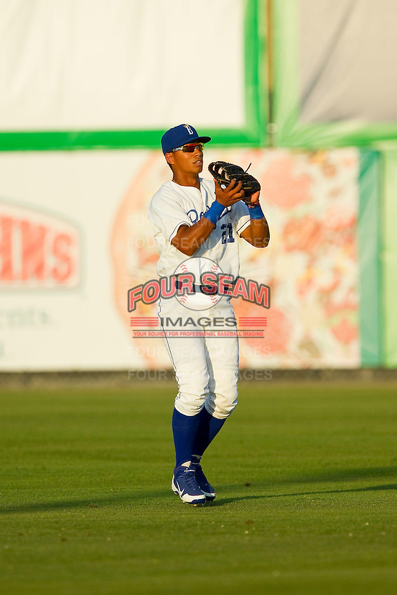 Burlington Royals center fielder Alfredo Escalera-Maldonado (21) catches a fly ball during the Appalachian League game against the Pulaski Mariners at Burlington Athletic Park on June20 2013 in Burlington, North Carolina.  The Royals defeated the Mariners 2-1 in 13 innings.  (Brian Westerholt/Four Seam Images)
