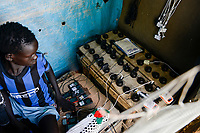 ETHIOPIA, Gambela, Itang, village Braziel, mobile phone battery recharge shop/ AETHIOPIEN, Gambela, Region Itang, Dorf Braziel, kleiner Laden zur Handy Batterie Aufladung