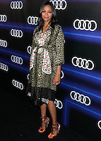 WEST HOLLYWOOD, CA, USA - AUGUST 21: Pregnant Actress Zoe Saldana arrives at the Audi Emmy Week Celebration held at Cecconi's Restaurant on August 21, 2014 in West Hollywood, California, United States. (Photo by Xavier Collin/Celebrity Monitor)