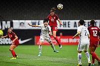 New Orleans, LA - Thursday October 19, 2017: Ji Soyum, Carli Lloyd during an International friendly match between the Women's National teams of the United States (USA) and South Korea (KOR) at Mercedes Benz Superdome.