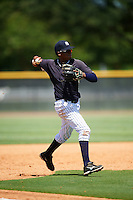 GCL Yankees East third baseman Jose Polonia (79) throws to first during a game against the GCL Yankees West on August 3, 2016 at the Yankees Complex in Tampa, Florida.  GCL Yankees East defeated GCL Yankees West 12-2.  (Mike Janes/Four Seam Images)