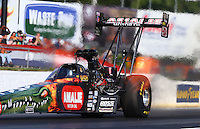 May 16, 2014; Commerce, GA, USA; NHRA top fuel dragster driver Terry McMillen during qualifying for the Southern Nationals at Atlanta Dragway. Mandatory Credit: Mark J. Rebilas-USA TODAY Sports