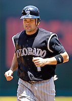 15 June 2006: Jamey Carroll, infielder for the Colorado Rockies, trots back to the dugout after being picked off second by Livan Hernandez of the Washington Nationals at RFK Stadium, in Washington, DC. The Rockies defeated the Nationals, 8-1 to sweep the four-game series...Mandatory Photo Credit: Ed Wolfstein Photo...