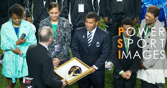 Waisale Serevi is inducted into the IRB Hall of Fame on Day 2 of the Cathay Pacific / HSBC Hong Kong Sevens 2013 on 23 March 2013 at Hong Kong Stadium, Hong Kong. Photo by Manuel Queimadelos / The Power of Sport Images
