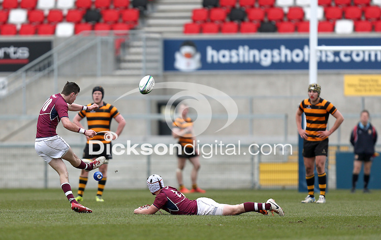 CAI vs RBAI | Tuesday 3rd March 2015<br /> <br /> Callum Smyth opens the scoring for CAI during the 2015 Ulster Schools Cup Semi-Final between Coleraine Inst and RBAI at the Kingspan Stadium, Ravenhill Park, Belfast, Northern Ireland.<br /> <br /> Picture credit: John Dickson / DICKSONDIGITAL