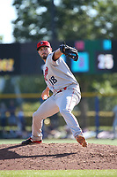 Joe Barlow (18) of the Spokane Indians pitches against the Hillsboro Hops at Ron Tonkin Field on July 23, 2017 in Hillsboro, Oregon. Spokane defeated Hillsboro, 5-3. (Larry Goren/Four Seam Images)