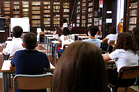 Students in class on their first day at Visconti Lyceum. In Italy most of the schools reopened today for the school year beginning. <br /> Rome (Italy), September 13th 2021<br /> Photo Samantha Zucchi Insidefoto