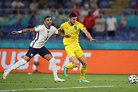 3rd July 2021, Stadio Olimpico, Rome, Italy;  Euro 2020 Football Championships, England versus Ukraine quarter final;   Roman Yaremchuk of Ukraine competes with Kyle Walker of England