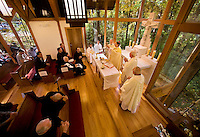 Bishop Peter Jugis says mass in the chapel on the campus of Belmont Abbey in Belmont, NC.