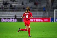 ORLANDO, FL - FEBRUARY 21: Samantha Chang #8 of the CANWNT runs onto the field during a game between Argentina and Canada at Exploria Stadium on February 21, 2021 in Orlando, Florida.