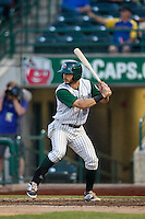 Fort Wayne TinCaps second baseman Kodie Tidwell (3) at bat against the West Michigan Whitecaps on May 23, 2016 at Parkview Field in Fort Wayne, Indiana. The TinCaps defeated the Whitecaps 3-0. (Andrew Woolley/Four Seam Images)