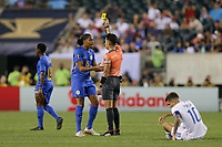 PHILADELPHIA, PENNSYLVANIA - JUNE 30: Shermaine Martina #15, Adonai Escobedo, Christian Pulisic #10 during the 2019 CONCACAF Gold Cup quarterfinal match between the United States and Curacao at Lincoln Financial Field on June 30, 2019 in Philadelphia, Pennsylvania.