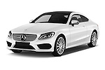 2016 Mercedes Benz C-Class Sportline 2 Door Coupe Angular Front stock photos of front three quarter view