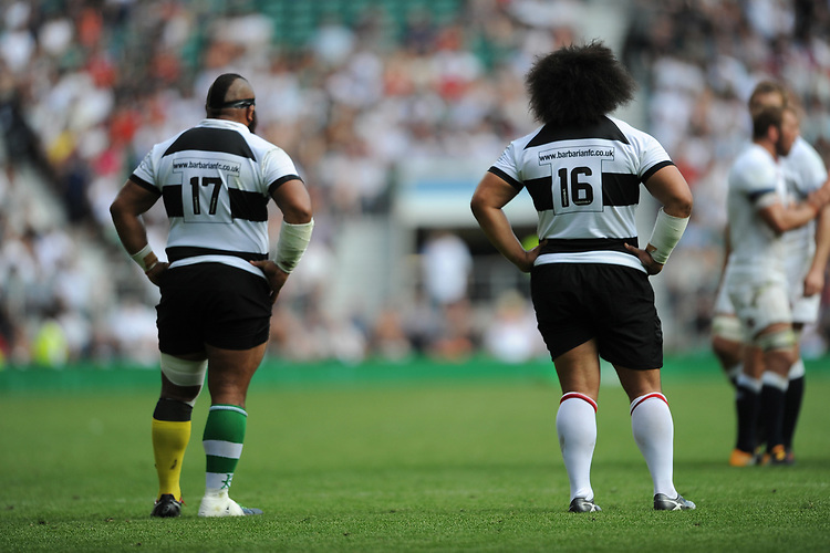 Loni Uhila (Clermont) and Tatafu Polota-Nau (Leicester & Australia) of Barbarians during the Quilter Cup match between England and Barbarians at Twickenham Stadium on Sunday 27th May 2018 (Photo by Rob Munro/Stewart Communications)