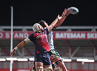 8th September 2020; Ashton Gate Stadium, Bristol, England; Premiership Rugby Union, Bristol Bears versus Northampton Saints; Dave Attwood of Bristol Bears competes for the ball at the lineout with Alex Moon of Northampton Saints